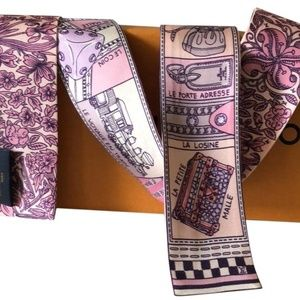 Louis Vuitton Accessories - New Louis Vuitton Pink & Liliac Narrow Silk Scarf